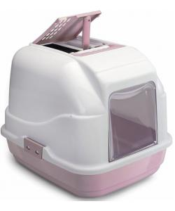 Туалет для кошек закрытый EASY CAT, белый/пепельно-розовый, 50*40*40 см