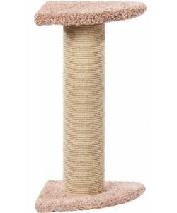 Когтеточка для кошек ковролиновая «Угловой зонтик мощный» 43*43*80 см, сизаль