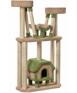 «Большой комплекс с тремя лежанками» ковролиновый для кошек 96*45*183 см, сизаль