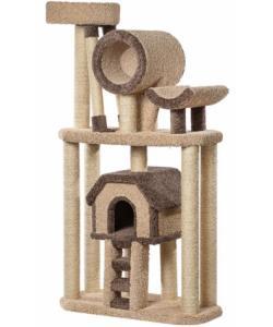 «Большой комплекс с лестницей» ковролиновый для кошек 96*45*183 см, сизаль