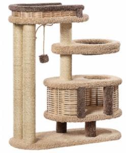 Домик когтеточка для кошек ковролиновый «Брунетка» 100*42*110 см, сизаль