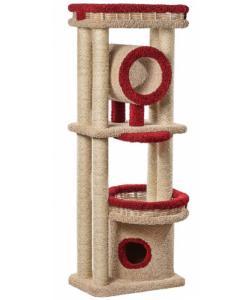 Домик для кошек ковролиновый «Округлый с плетеной лежанкой и трубой» 68*47*180 см, сизаль