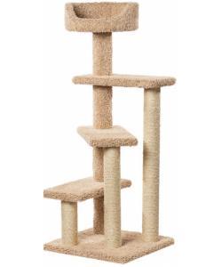 Когтеточка для кошек ковролиновая «Винтовая лестница» 57*57*143 см, сизаль