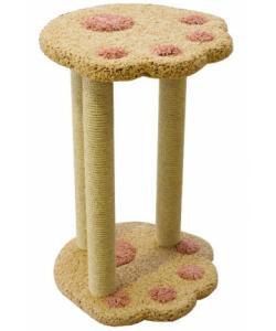 Когтеточка для кошек ковролиновая «Лапа с 3 столбиками» 44*44*70 см, сизаль