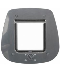 Дверца для кошки 4 позиции, для стеклянных дверей, клапан 14 х 15,5 см, серая (44222)