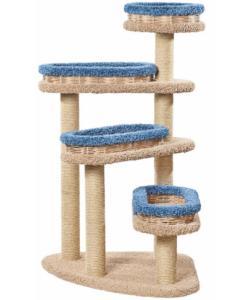 Когтеточка для кошек ковролиновая «Винтовая лестница с плетеными лежанками» 82*82*140 см, сизаль