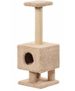 Домик для кошек ковролиновый «Квадратный на ножках» 38*38*100 см, сизаль