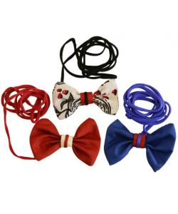 Игрушка для кошек шуршащая бантик на эластичном шнуре 10 см текстиль (набор 10 шт)