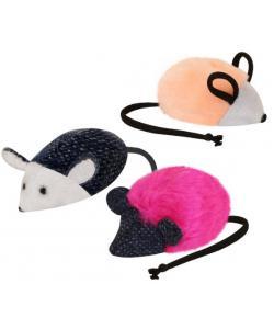 Игрушка для кошек с кошачьей мятой мышь 5 см иск.мех/текстиль (набор 10 шт)