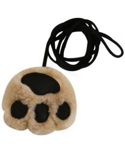 Игрушка для кошек лапа на эластичном шнуре 8 см иск.мех/иск.кожа (набор 6 шт)
