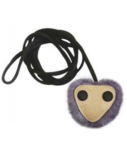 Игрушка для кошек глазастик на эластичном шнуре 8 см иск.мех/иск.кожа (набор 6 шт)