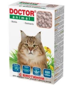 Мультивитаминное лакомство Doctor Animal с Биотином, для кошек, 100 таблеток