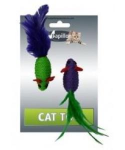 """Игрушка для кошек """"Две мышки с перьями"""" 2х5см"""