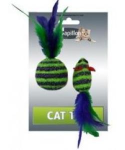 """Игрушка для кошек """"Мышка и мячик с перьями"""" 5+4см пушистые в полоску"""