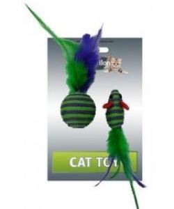 """Игрушка для кошек """"Мышка и мячик с перьями"""" 5+4см, вязанные"""
