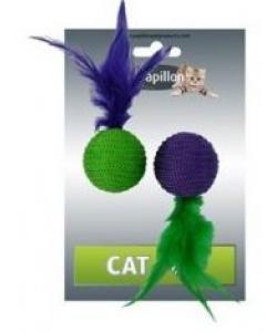 """Игрушка для кошек """"Два мячика с перьями"""" 2х4см"""