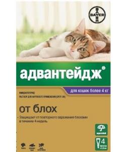 Адвантейдж капли для кошек более 4 кг от блох, 4 пипетки по 0,8 мл
