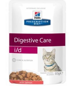 Паучи I/D для кошек при лечении ЖКТ с лососем (кусочки в соусе)