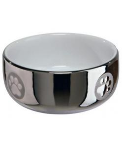 Миска керамическая 0.3л /11см, серебрянный/белый (24799)