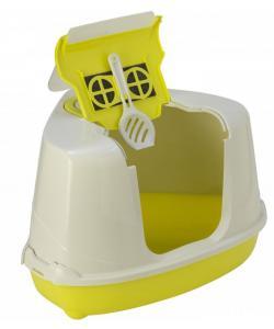 Туалет-домик угловой Flip с угольным фильтром, 55х45х38см, лимонно-желтый