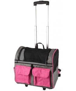 Сумка-рюкзак для животных на колесах KIARA двойная, 45*29*45см, розовая