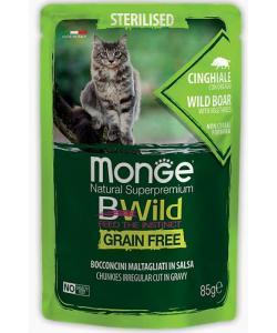 Cat BWild GRAIN FREE паучи из мяса дикого кабана с овощами для стерилизованных кошек