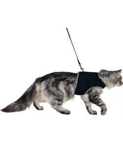 Шлейка мягкая с поводком для кошек, XL, 36–54 см, 1,20 м, чёрная (41895)