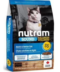 Сухой корм для взрослых и пожилых кошек S5 Nutram Sound Balanced Wellness Adult Cat Food