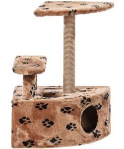 Домик для кошек меховой «Угловой со ступенькой» 57*42*80 см, джут