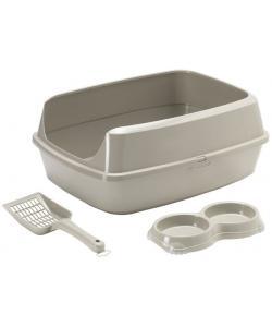 Набор для котят: совок+двойная миска+туалет-лоток с рамкой 50*38*10,8см, теплый серый