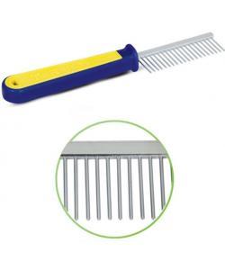 Расческа с редкимии зубьями, сине-желтая ручка, 3*19.5 см (305)