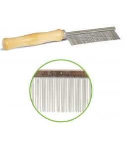 Расческа с частымии зубьями, деревянная  ручка, 3*18 см (307М)