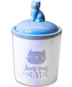 """Керамический бокс """"Hug your cat"""" для хранения корма, бело-серый 1650мл"""