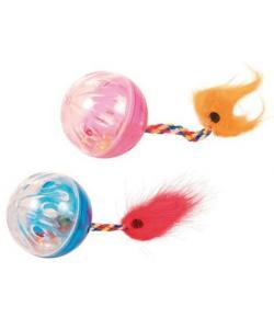 Игрушка для кошки, мячи с хвостами 2 шт., 4 см (4165)