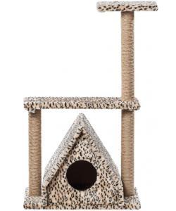 Домик для кошек меховой «Избушка с тремя столбами» 62*37*106 см, джут