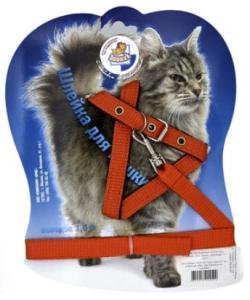 Шлейка-стропа с поводком для кошек, 1,5 м, оранжевая