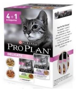 Акция Промо-набор 4+1 Паучи Кусочки для взрослых кошек идеальное пищеварение - индейка, ягненок