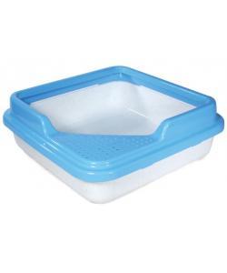 Туалет для кошек квадратный с бортом, 43,5*43,5*14,5см, белый мрамор с голубым (P755)