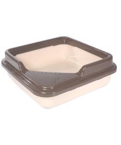 Туалет для кошек квадратный с бортом, 43,5*43,5*14,5см, капучино (P755)