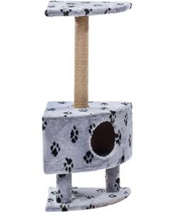 Домик для кошек меховой «Угловой на ножках» 42*42*99 см, джут
