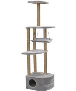 """Комплекс-когтеточка """"Башня угловая"""" с гамаком, 48*48*h171 см, джут, серый"""
