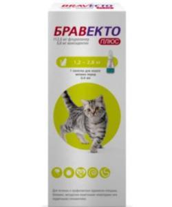 Бравекто Спот-он PLUS капли на холку от блох, клещей и глистов для кошек 1,2-2,8 кг, 1 пипетка 0.4мл