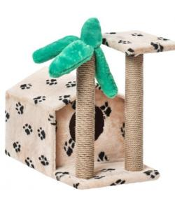 Домик для кошек меховой «Тропический» 62*37*54 см, джут