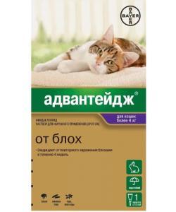 Адвантейдж капли для кошек более 4 кг от блох, 1 пипетка по 0,8 мл