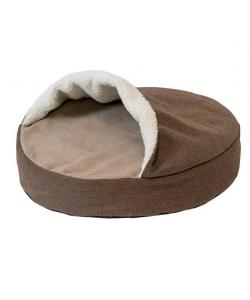 Лежак круглый, серия КАРМАН - рогожка коричневый