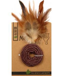 """ЭКО игрушка """"КОЛЕЧКО """" с перьями и кошачьей мятой, 5 см фиолетовое"""