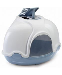 Туалет для кошек закрытый угловой GINGER, пепельно-синий, 50*40*40 см