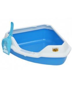 Туалет для кошек угловой с совком, 56*42*18 см, голубой