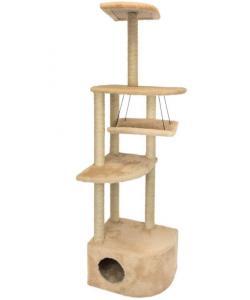 """Комплекс-когтеточка """"Башня угловая"""" с гамаком, 48*48*h171 см, джут беленый, бежевый"""