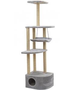 """Комплекс-когтеточка """"Башня угловая"""" с гамаком, 48*48*h171 см, джут беленый, серый"""